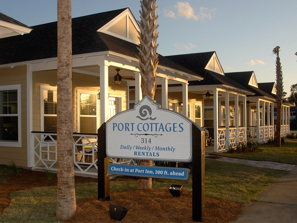 port cottages front sign